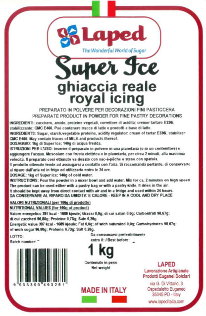 SUPER ICE - GHIACCIA REALE istantanea sacchetto 1 Kg - LAPED