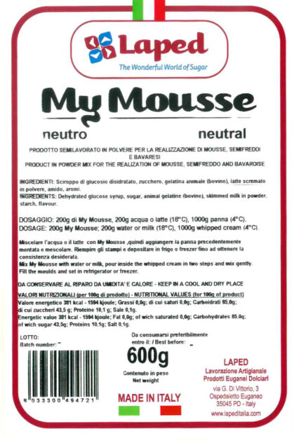 MY MOUSSE - mousse neutra sacchetto 600gr - LAPED